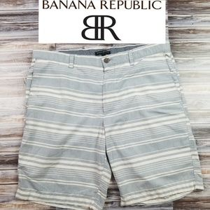 Banana Republic Mens 36W Light Blue & White Shorts